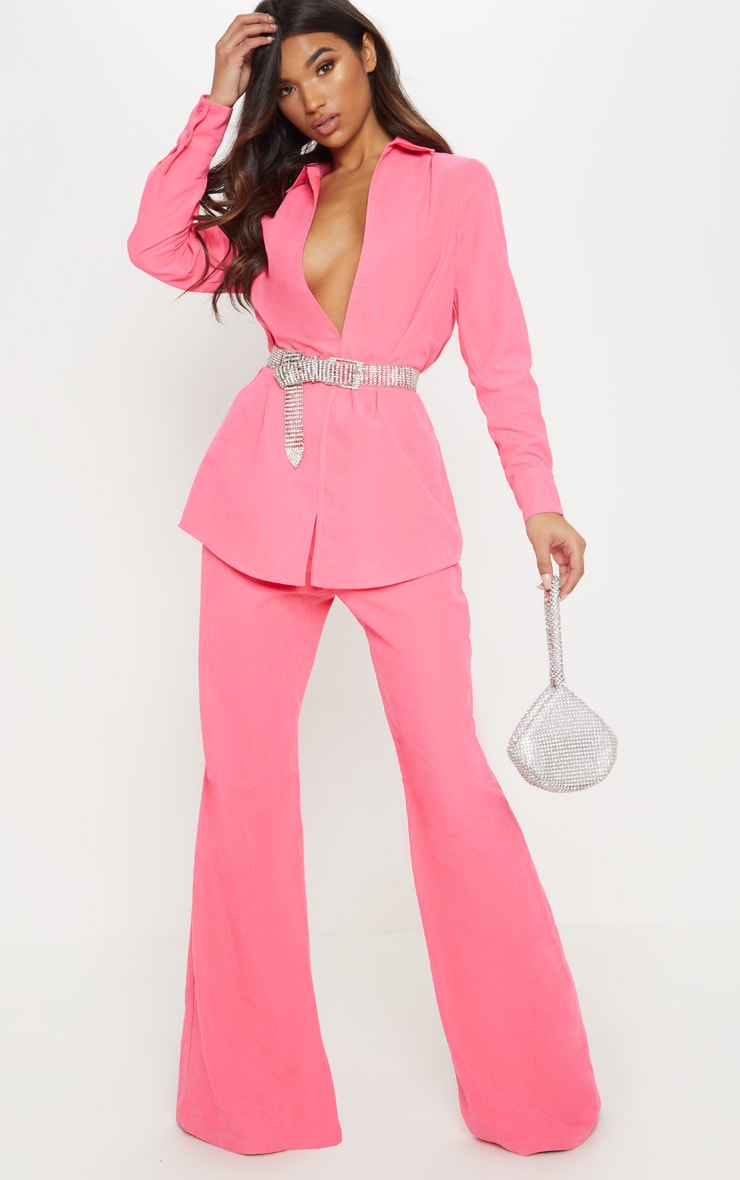 Hot Pink Faux Suede Wide Leg Trouser 1