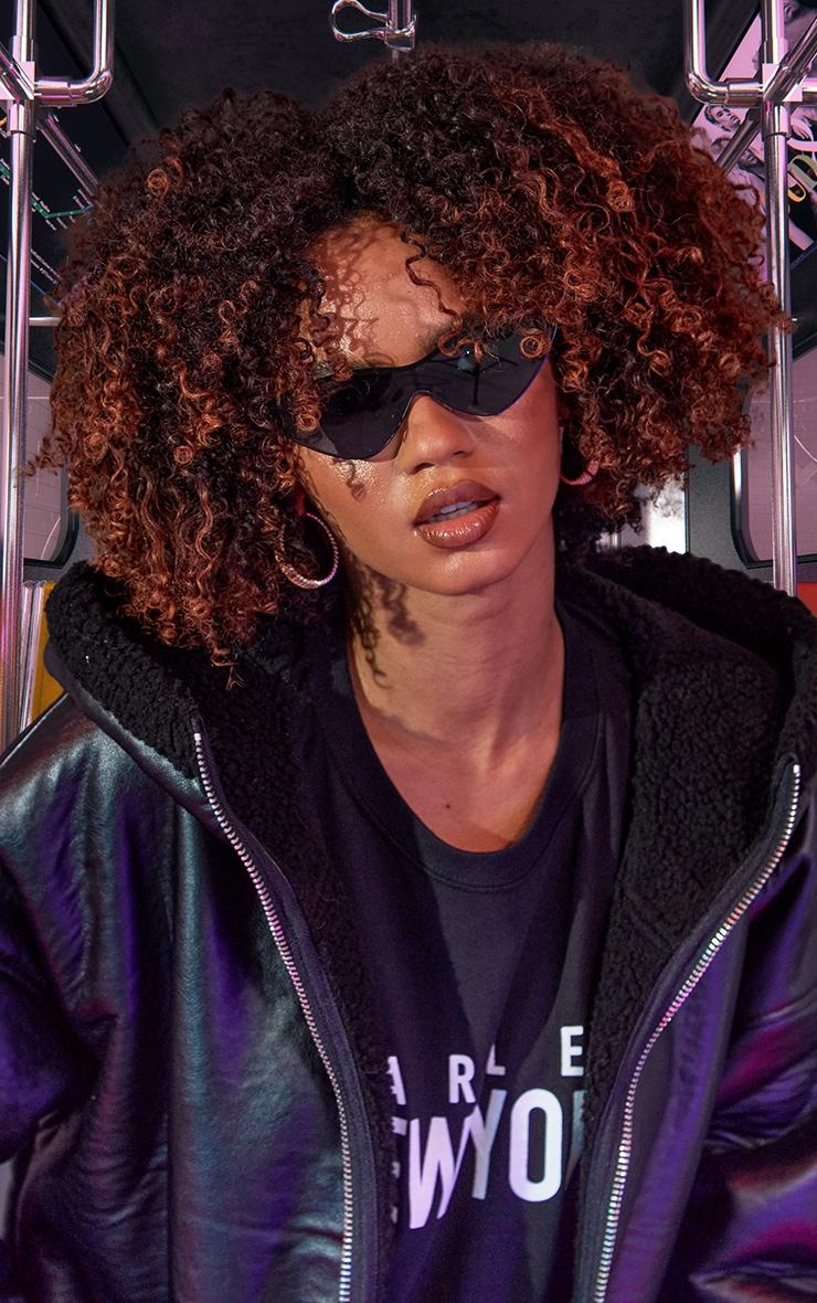 Black Metal Frame Slim Sunglasses 1