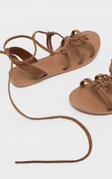 Tan Knot Strappy Leather Sandal 4