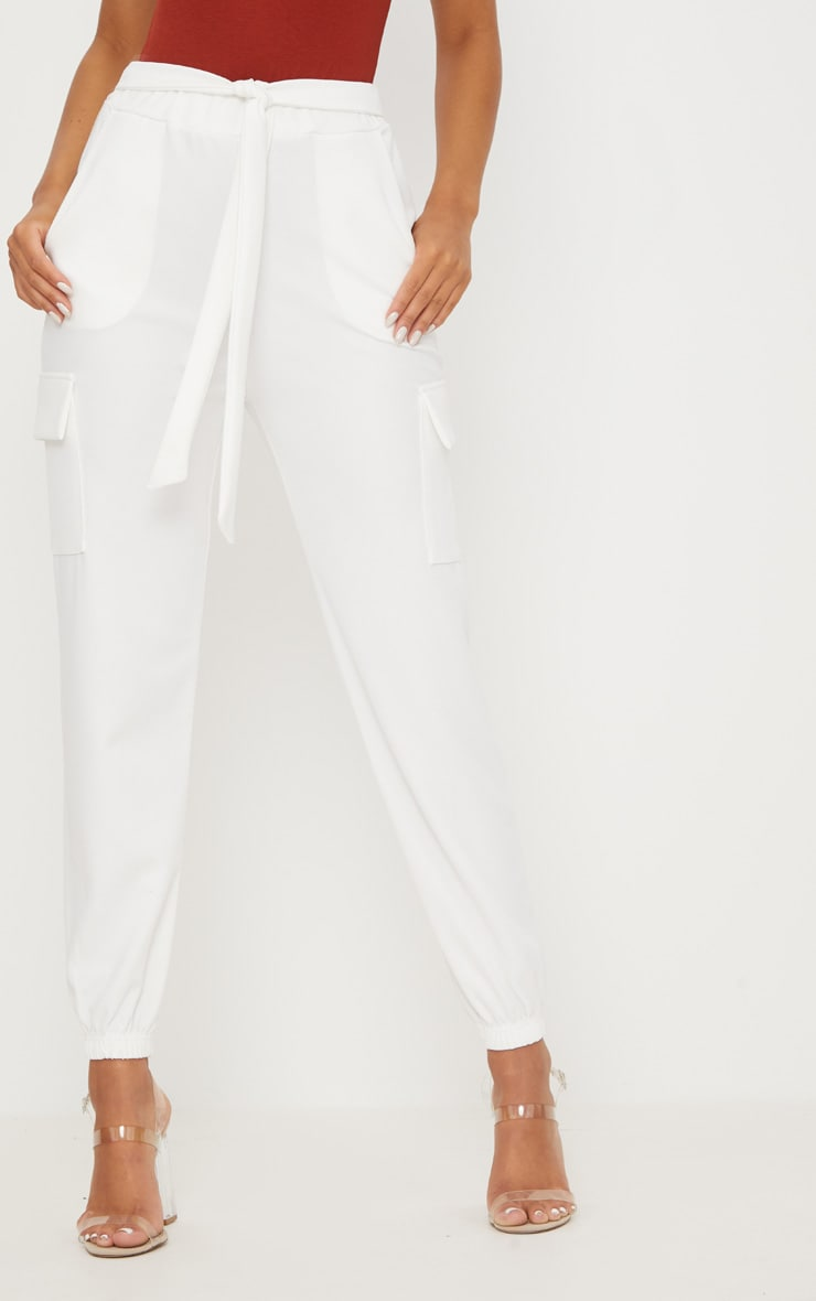 White Tie Waist Pocket Detail Pants 2