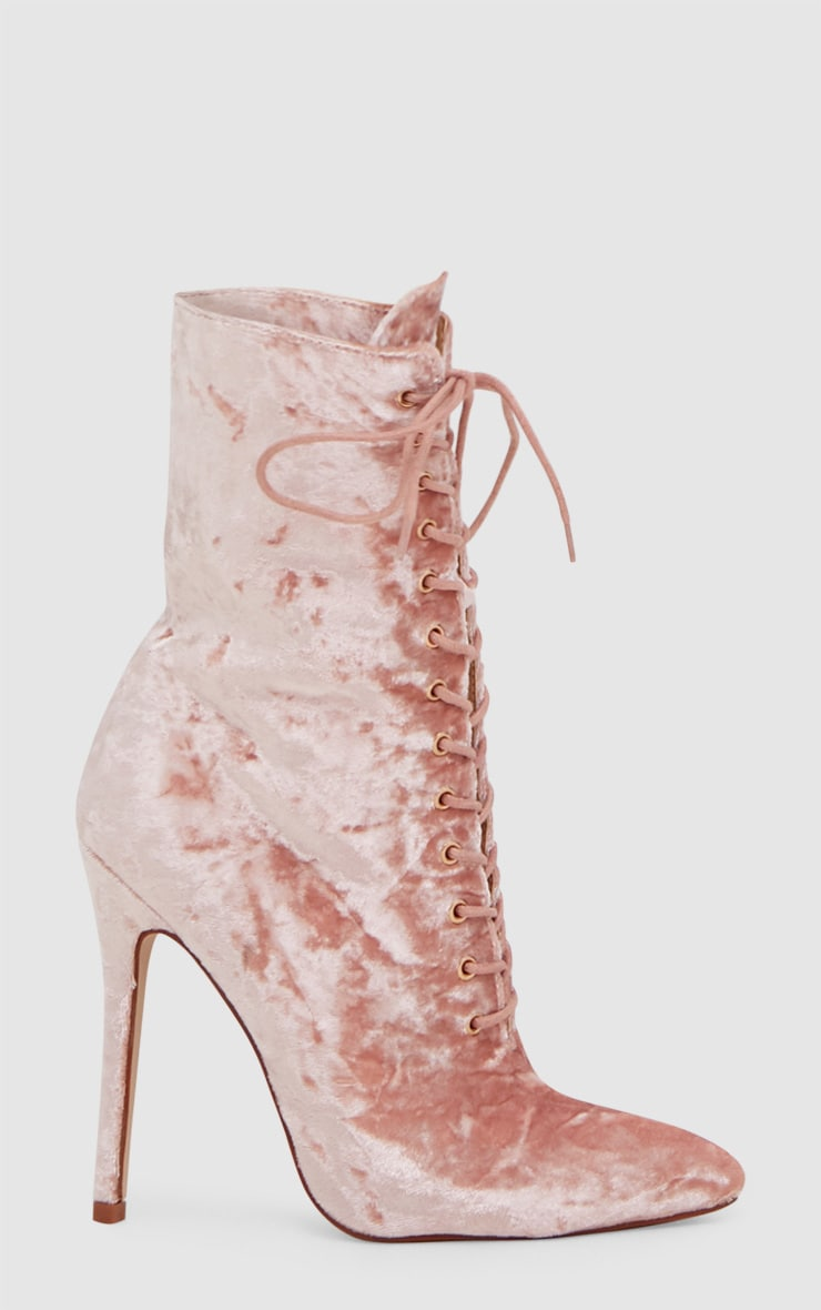 Pink Crushed Velvet Lace Up Heeled Boots 3