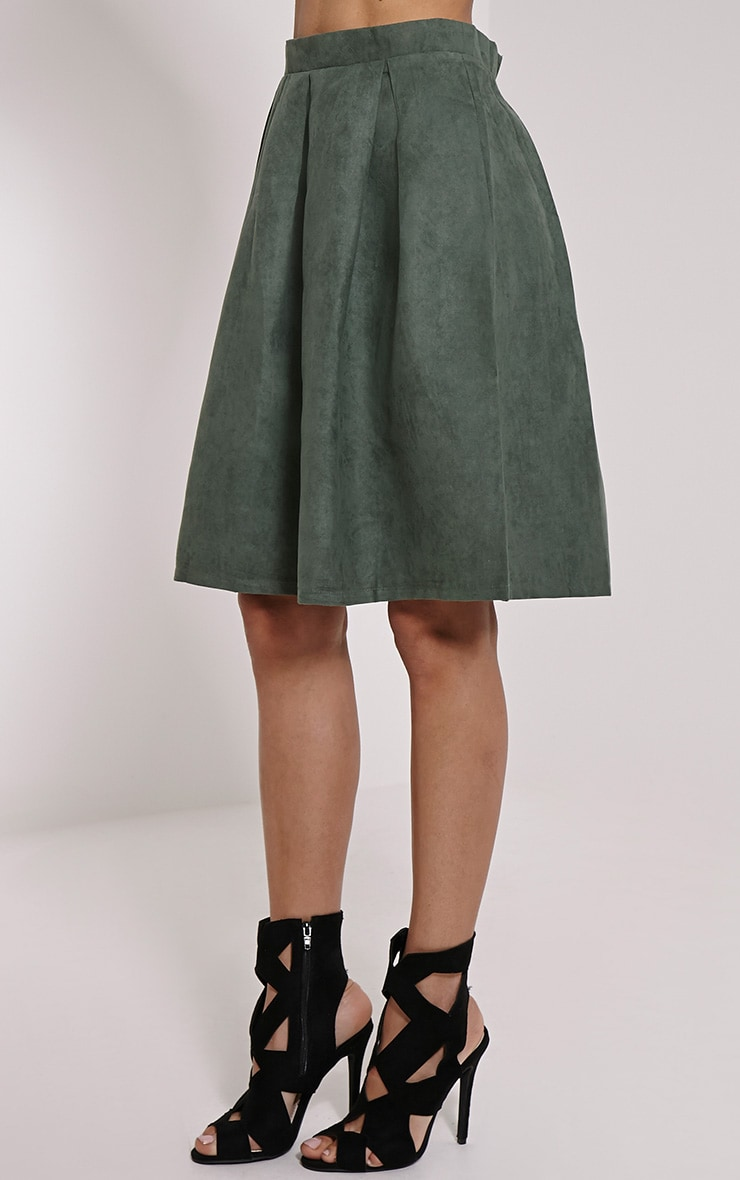 Teagon Khaki Pleated Faux Suede A-Line Midi Skirt 3