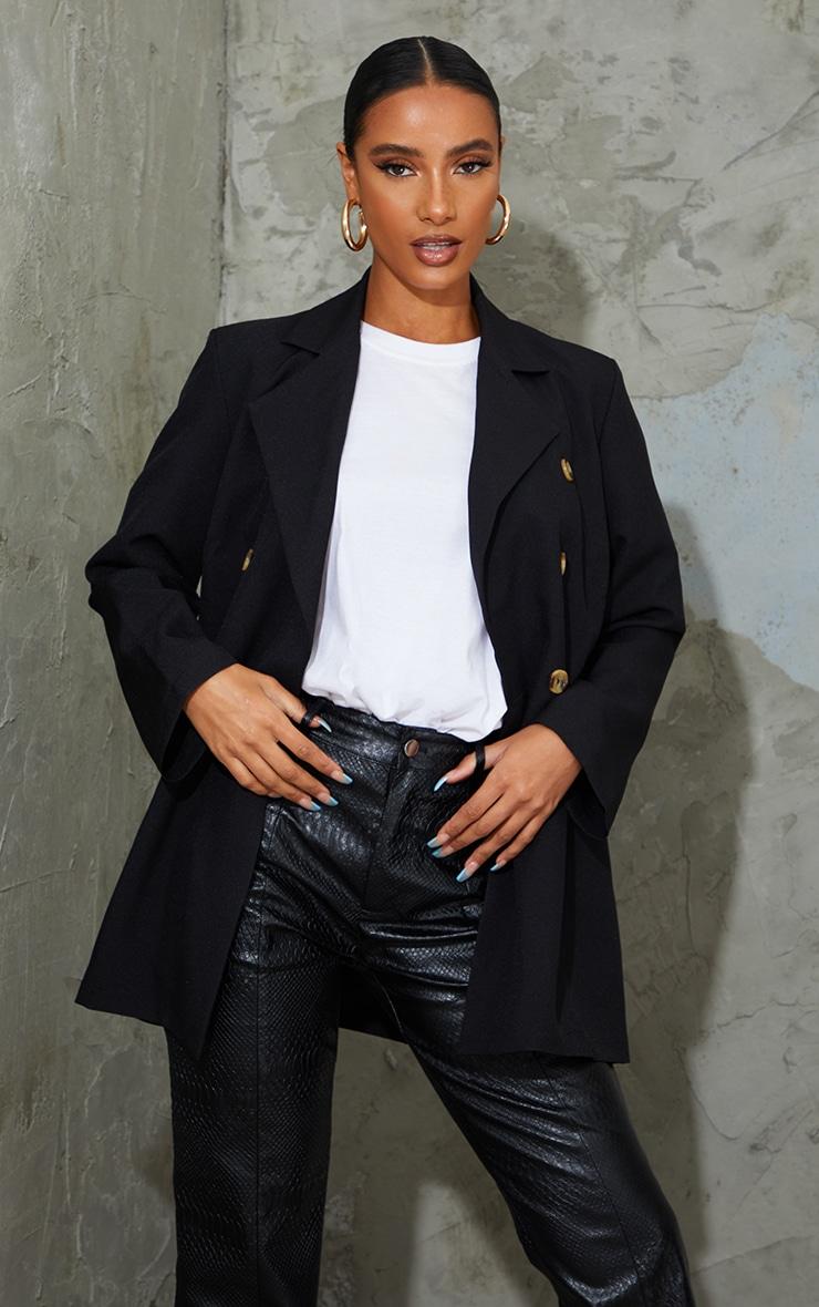 Black Woven Oversized Shoulder Pad Button Down Blazer 1