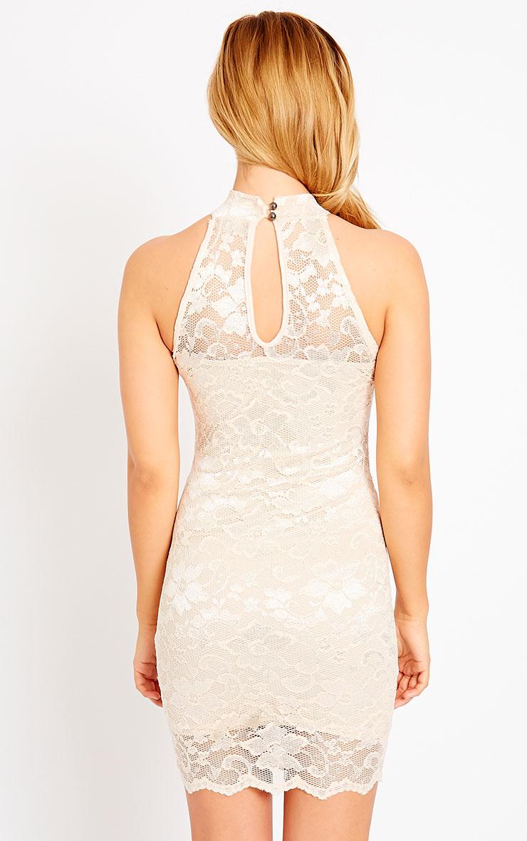 Soffi Peach High Neck Lace Bodycon Dress 2