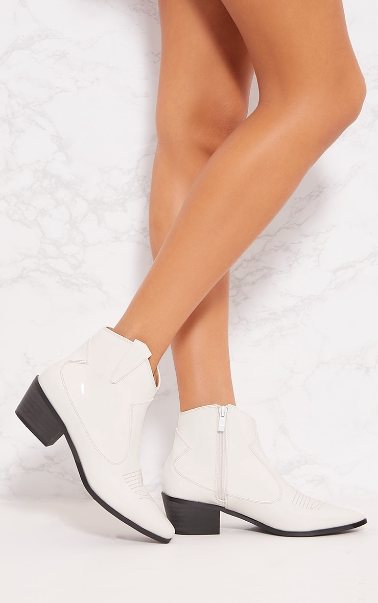White Patent Western Ankle Boot