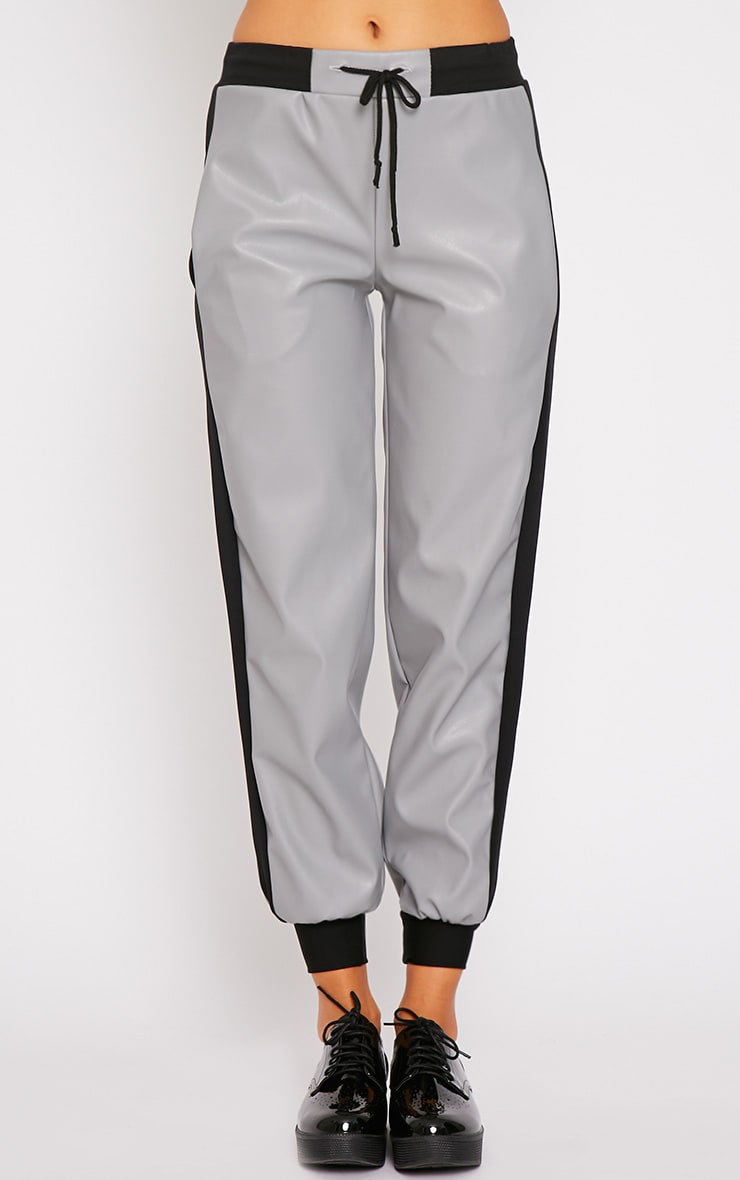 Carmen Grey Faux Leather Joggers 4