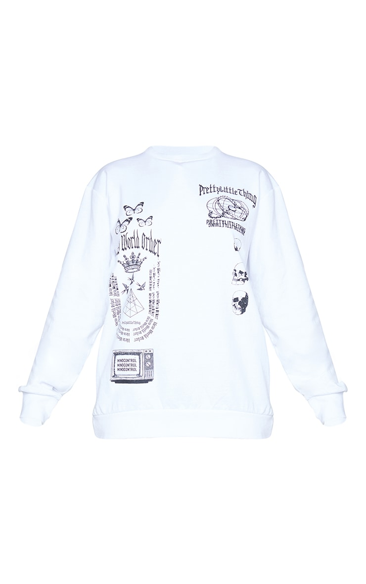 PRETTYLITTLETHING White New World Order Printed Sweatshirt 5