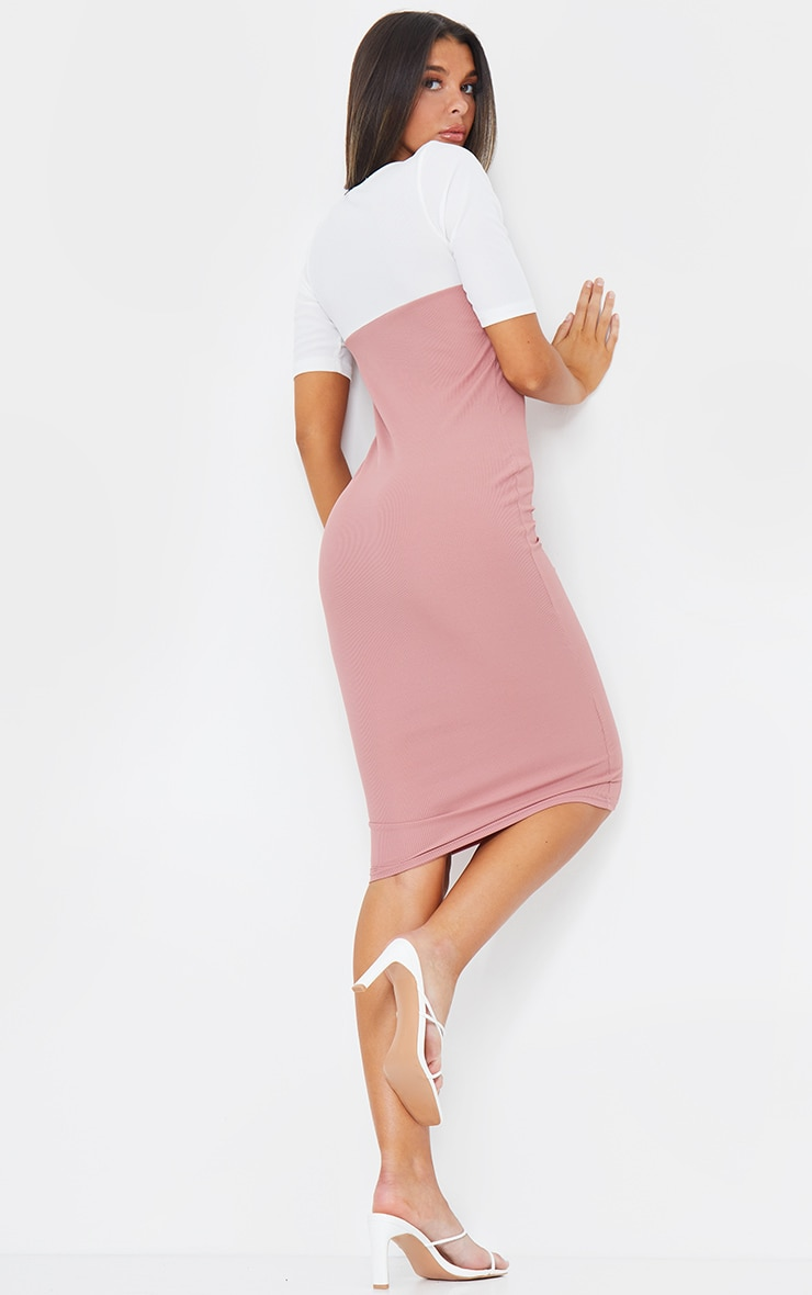 Blush Rib Contrast Bust Detail Midi Dress 2