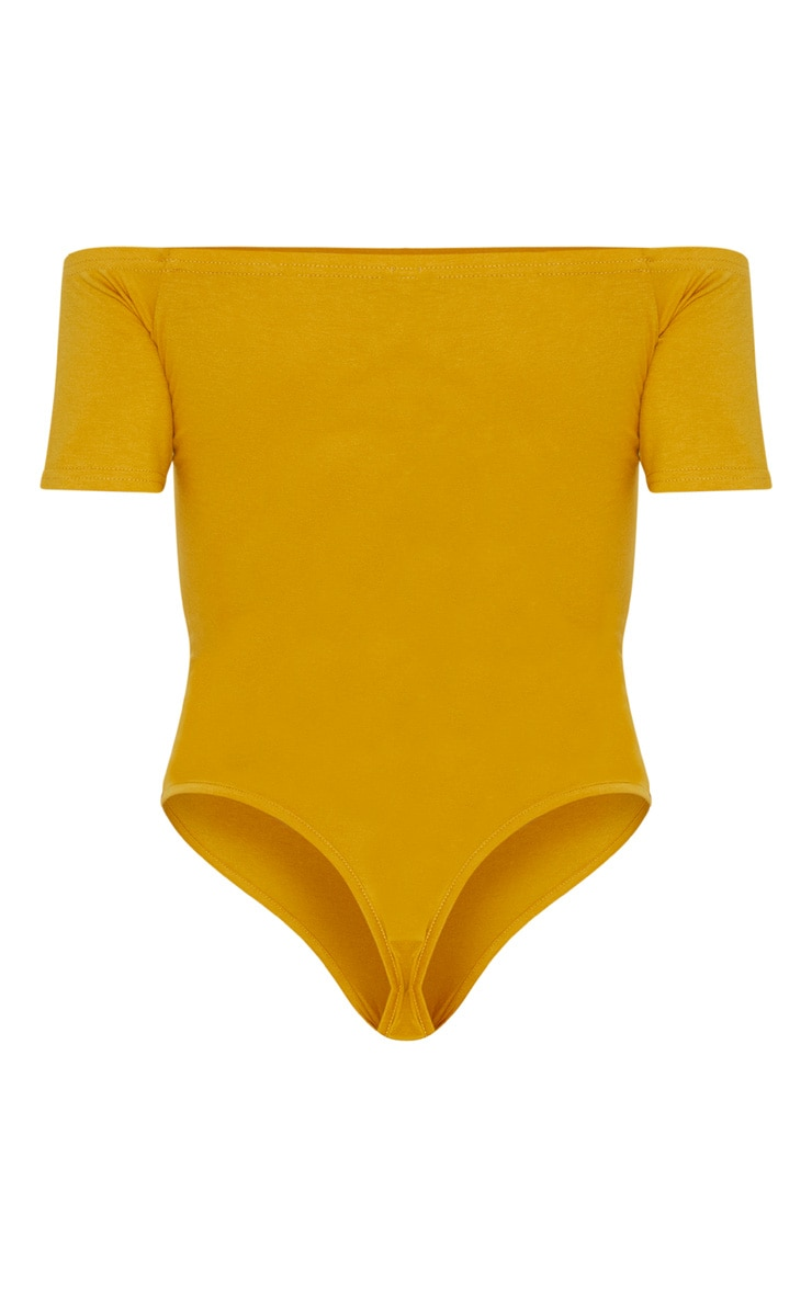Basic Mustard Bardot Short Sleeve Bodysuit  4