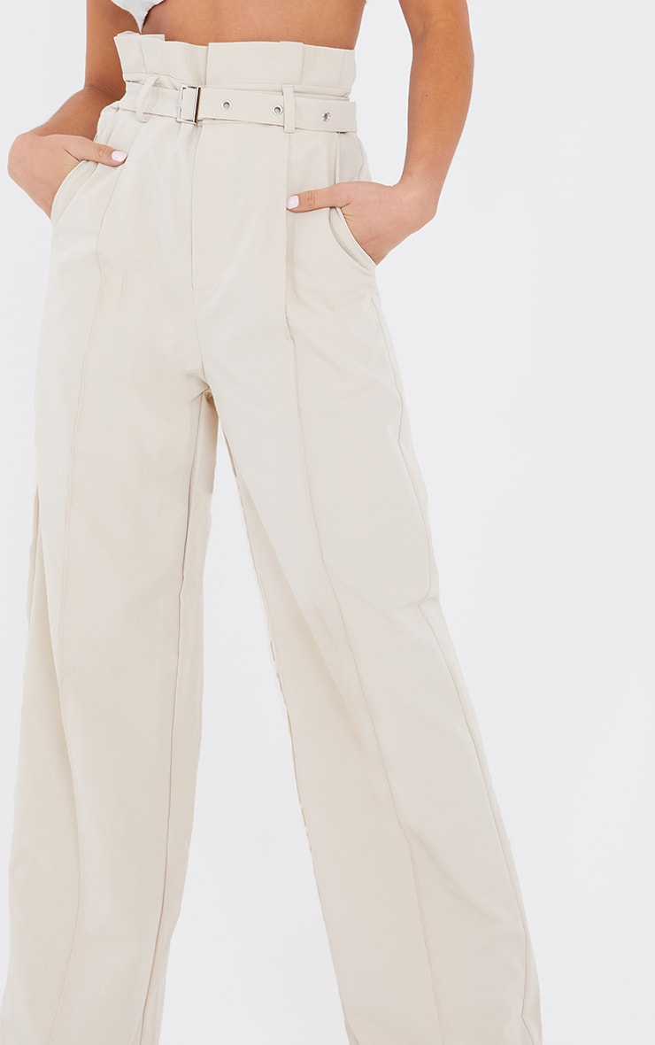 Petite Stone Wide Leg Paperbag Pants 4