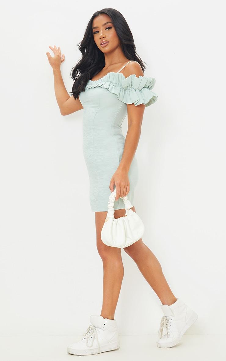 Petite Sage Green Frill Cold Shoulder Mini Dress