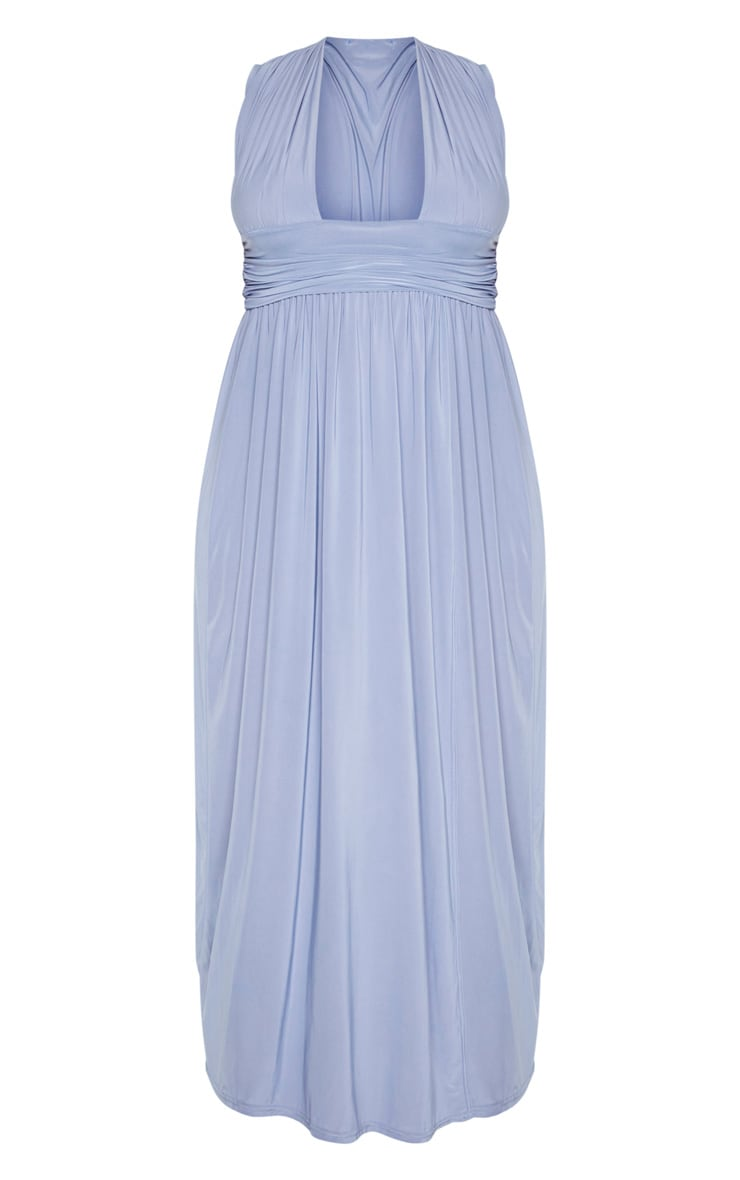 Plus Dusty Blue Ruched Plunge Maxi Dress 3