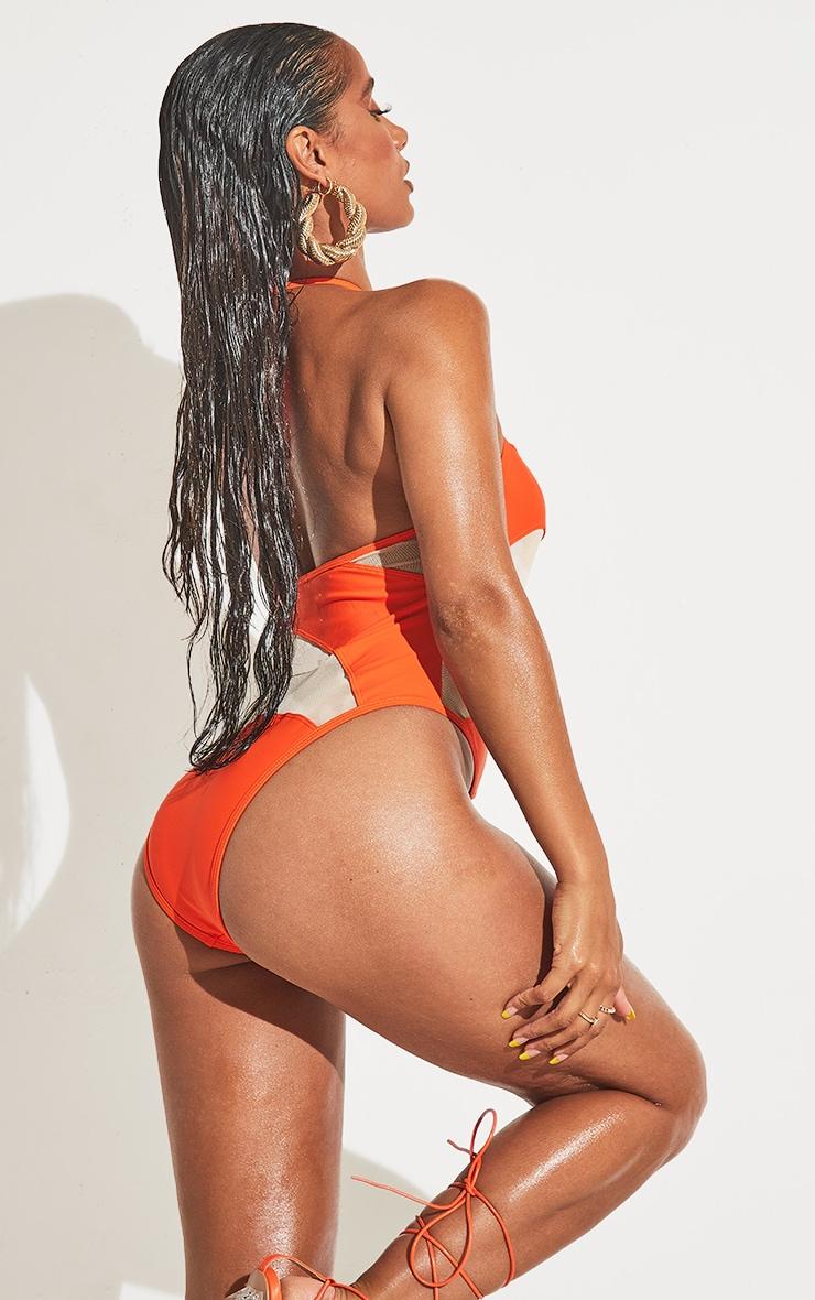 Orange Mesh Panel Plunge Swimsuit 2