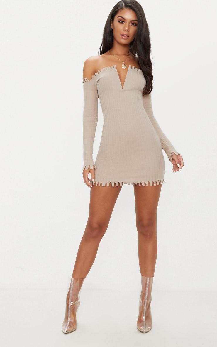 Stone Ribbed Bardot Raw Edge Detail Bodycon Dress 4