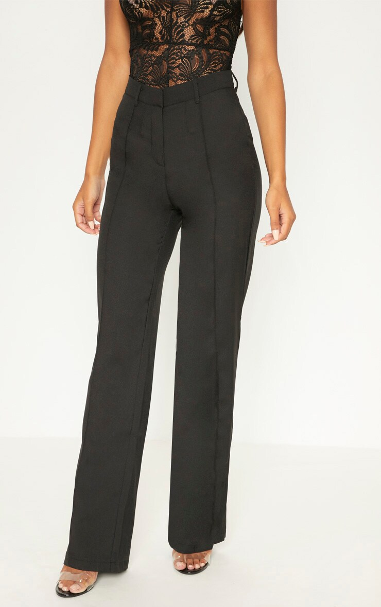 Anala Black High Waisted Straight Leg Trousers 2