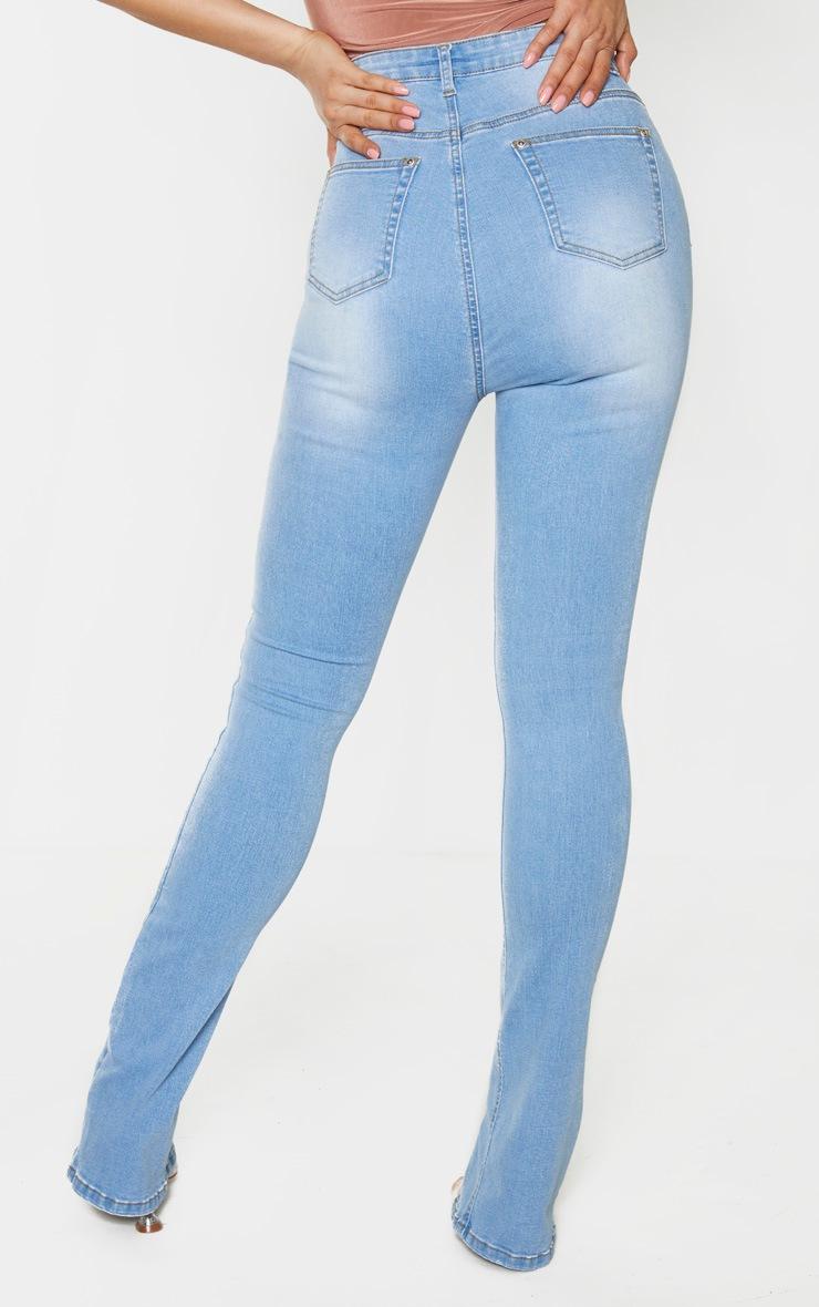 Tall Light Blue Wash Split Front Skinny Jeans 5