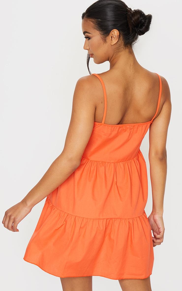 Orange Cotton Poplin Tiered Strappy Smock Dress 2