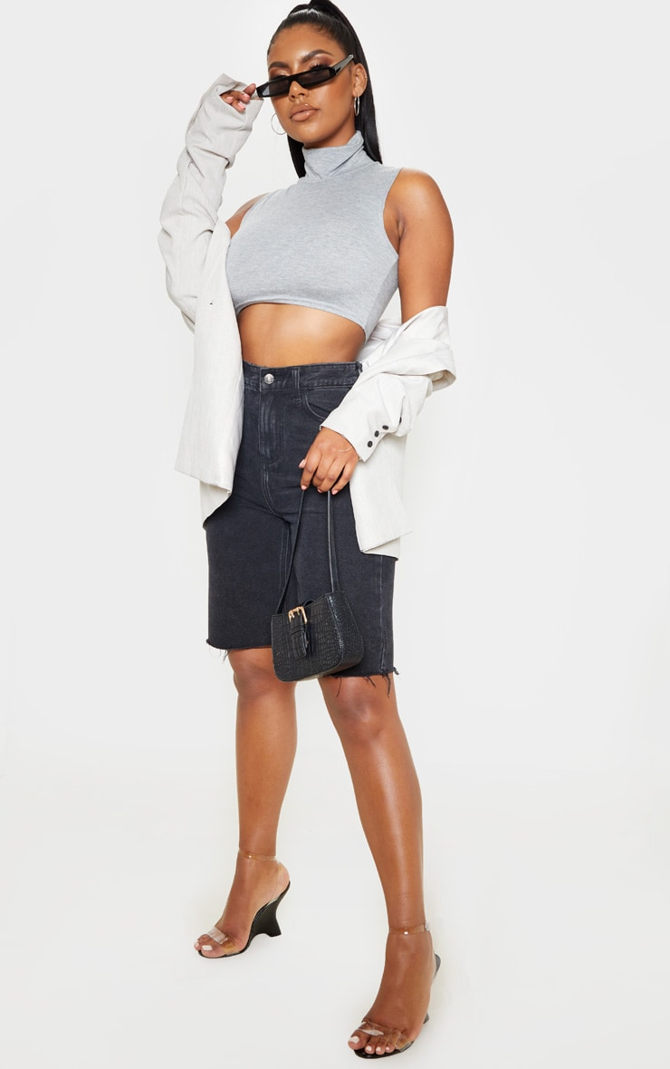 Basic Grey Jersey Roll Neck Sleeveless Crop Top 4