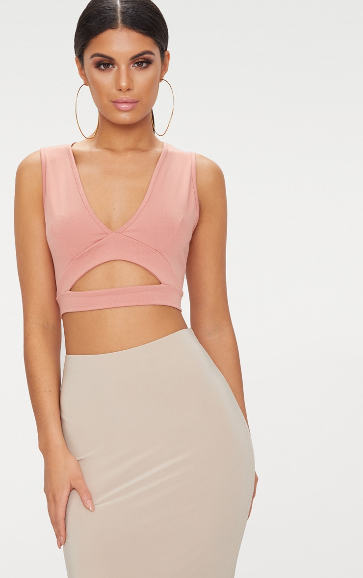 Peach Slinky Cut Out Plunge Crop Top  1