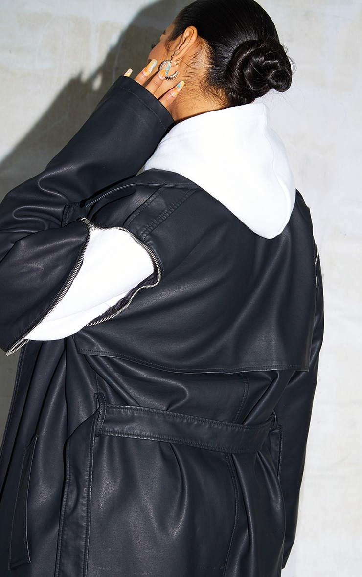 Black Faux Leather Removable Sleeves Trench 4