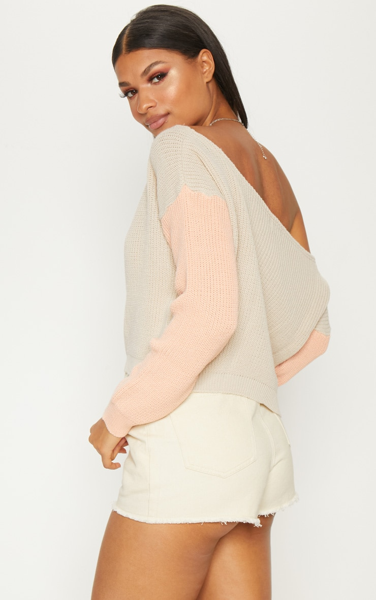 Stone Off Shoulder Cropped Colour Block Jumper 2