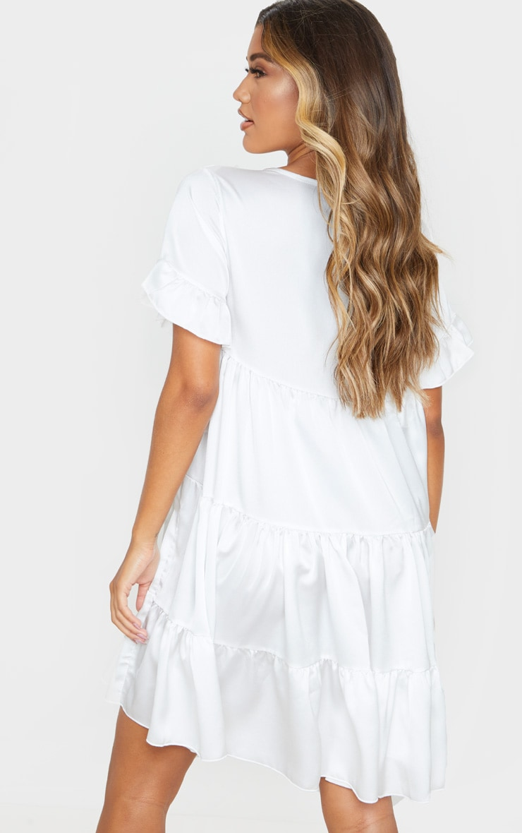White Frill Sleeve Tiered Smock Dress 2