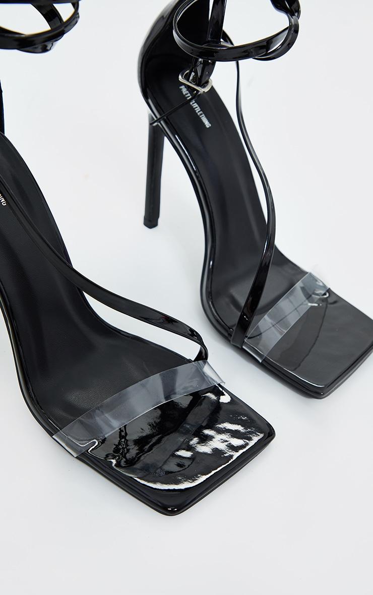 Black Wide Fit Square Toe Asymmetric Strap Sandals 2