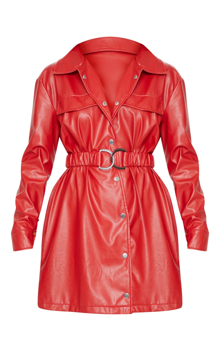 Red Faux Leather Belted Shirt Dress 3