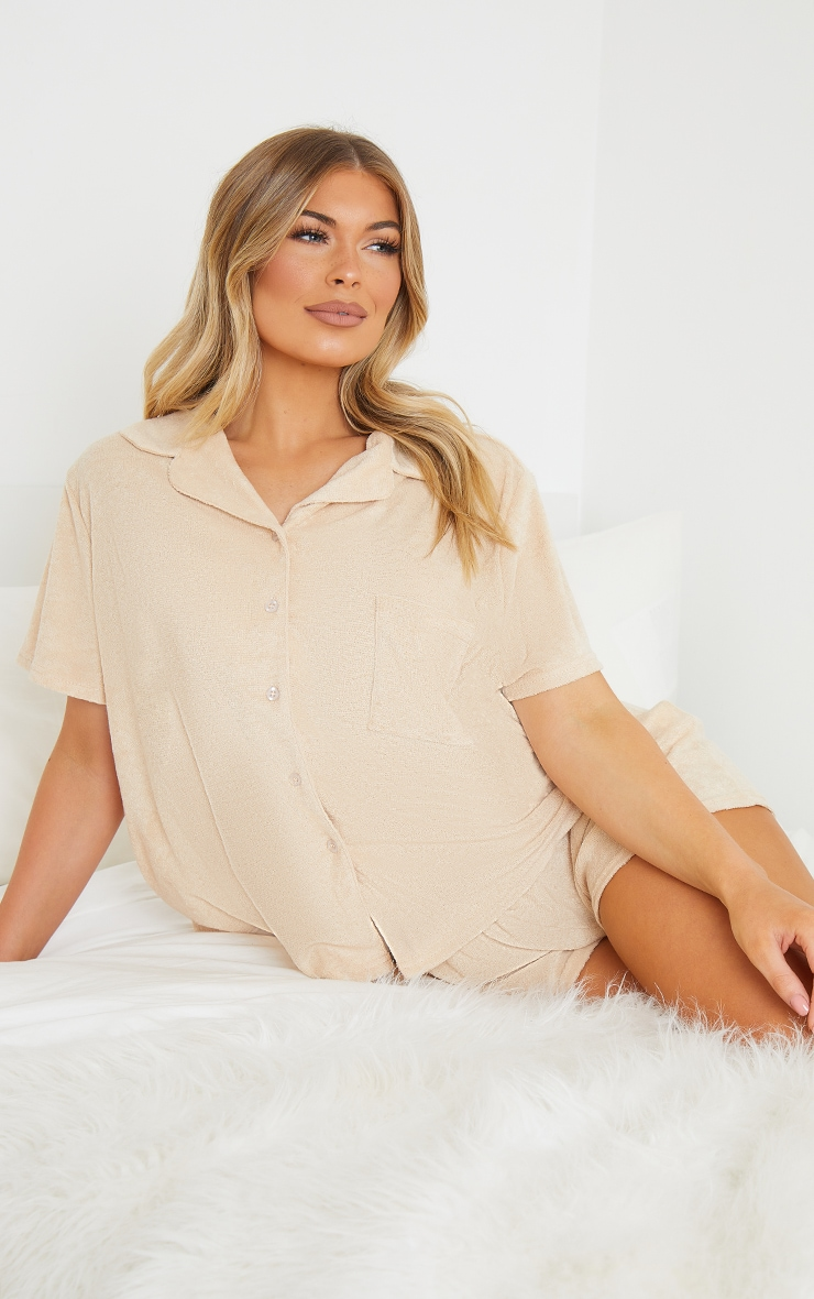 Taupe Towelled Mix And Match Short Sleeve Button Up Lounge Top 1