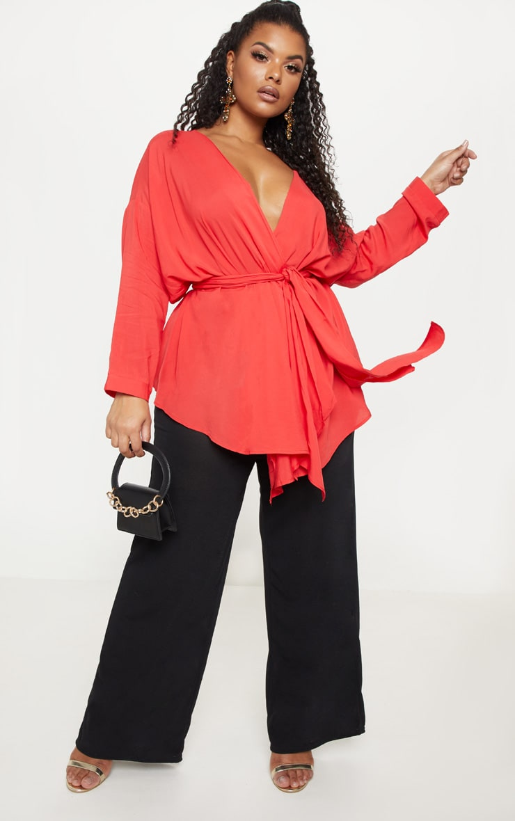 Plus Red Woven Tie Waist Blouse 4