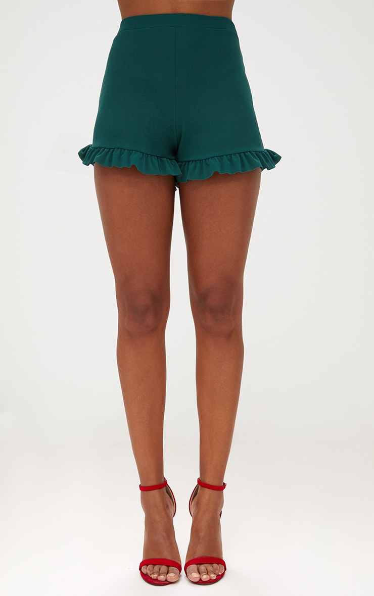 Emerald Green Frill Hem Shorts 2
