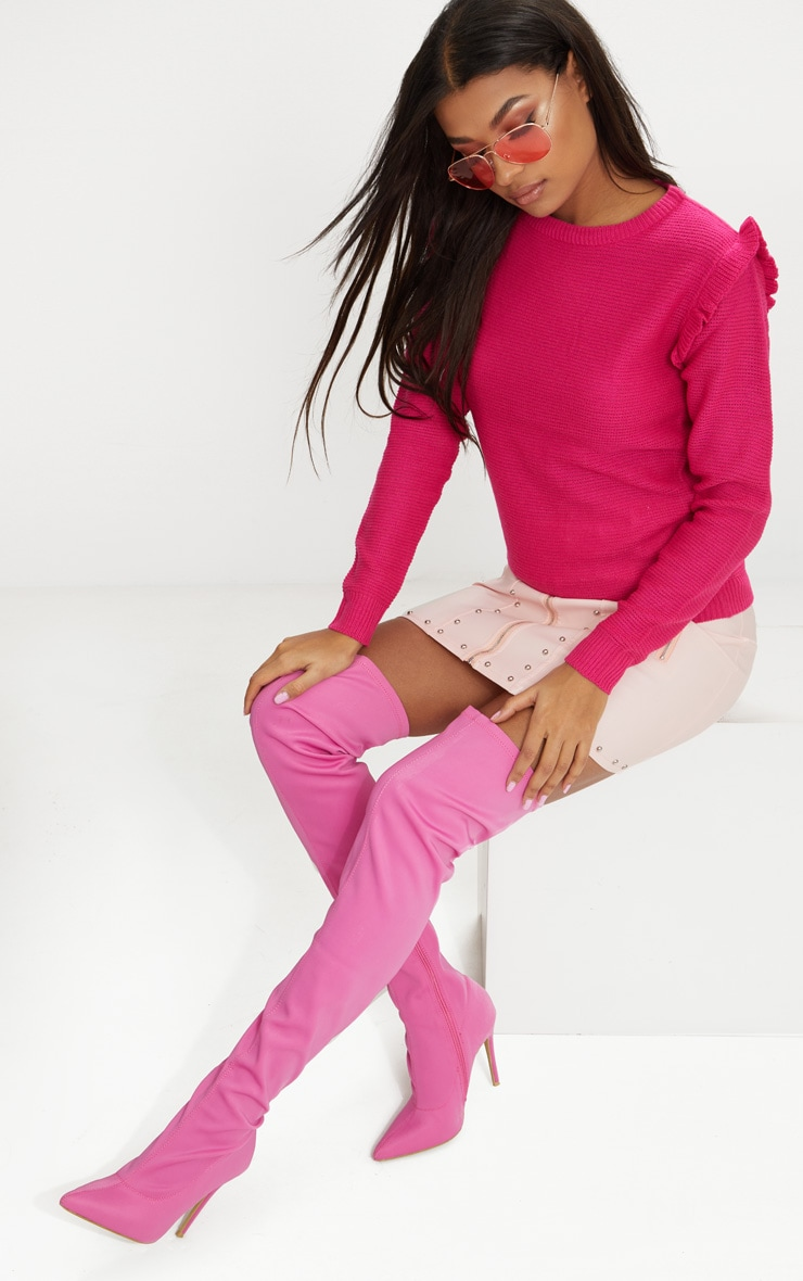 Hot Pink Frill Shoulder Jumper 4