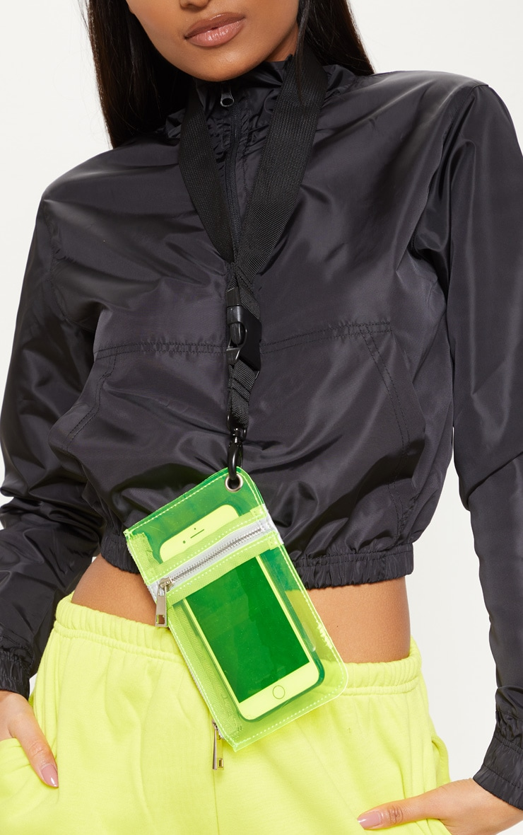 Neon Lime Transparent Phone Case Lanyard 1