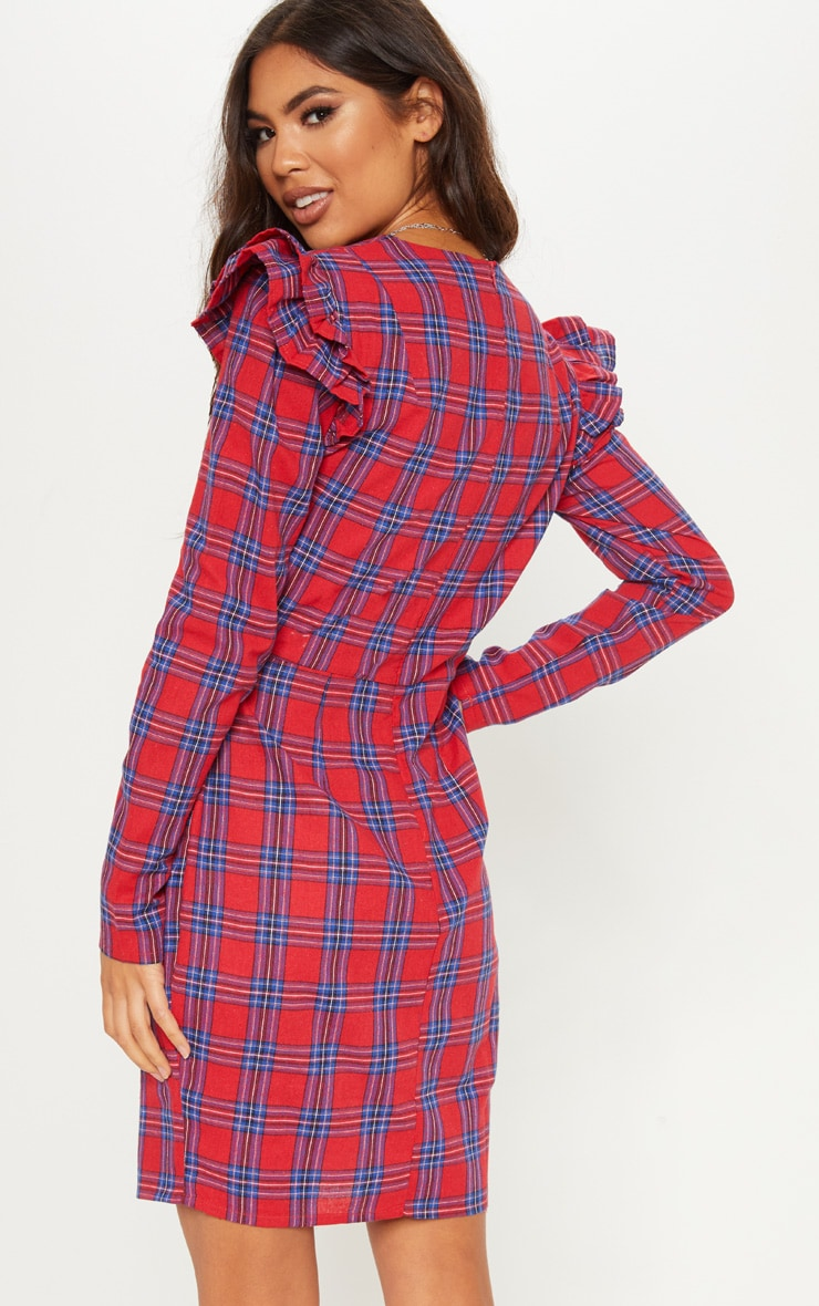 Red Tartan Frill Sleeve Shift Dress 2