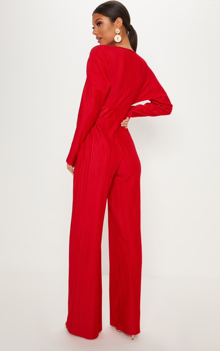 Red Long Sleeve Pleated Jumpsuit 2