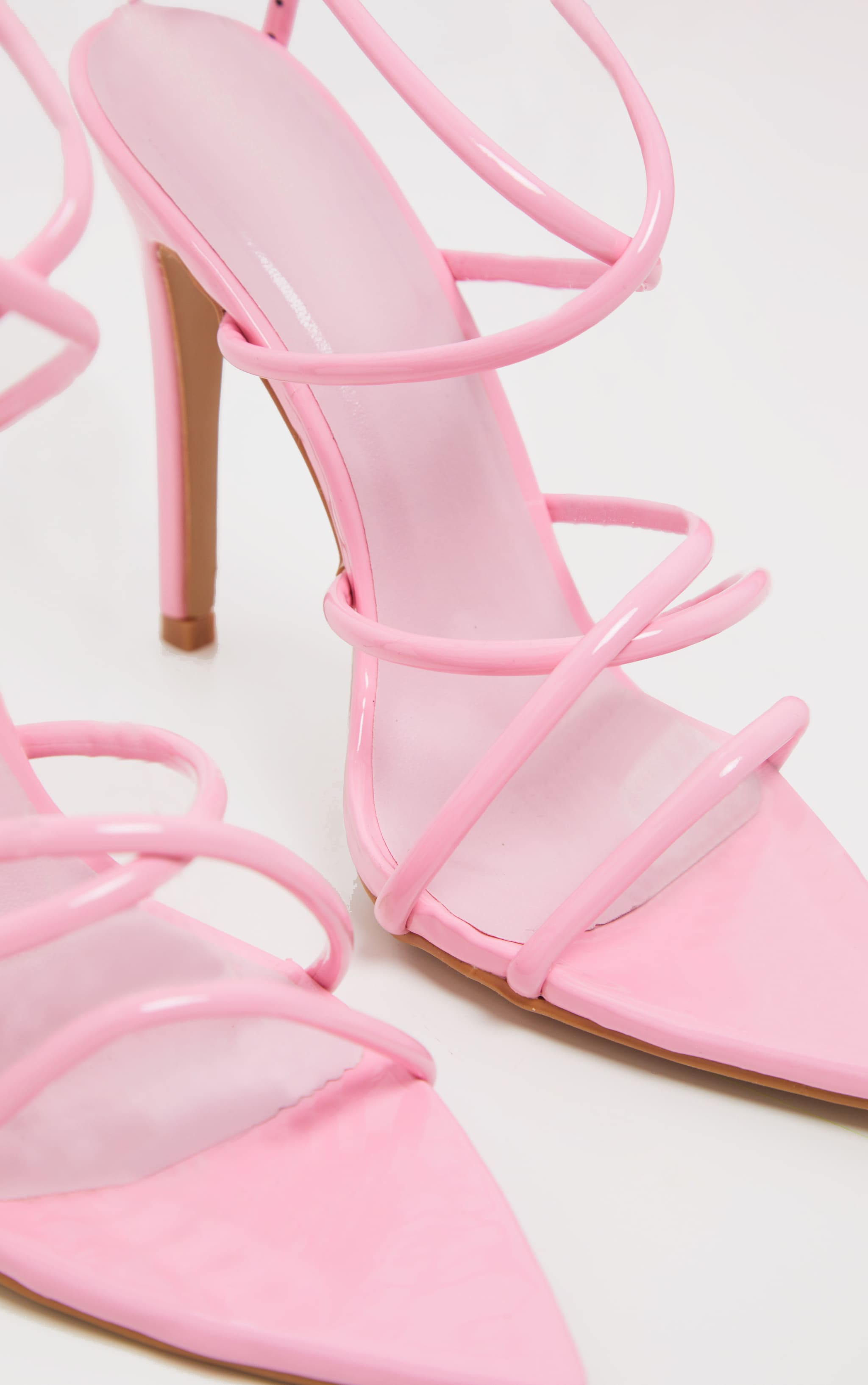 Pastel Pink Tube Strappy Point Toe Sandal 3