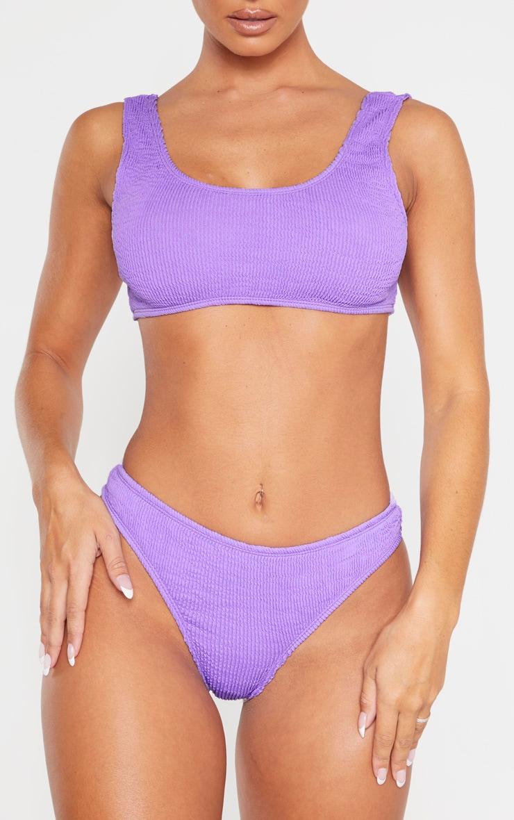 Purple Crinkle Thong Bikini Bottom 1