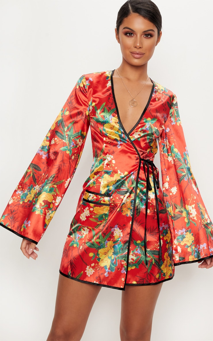 Red Oriental Contrast Kimono Wrap Dress Prettylittlething