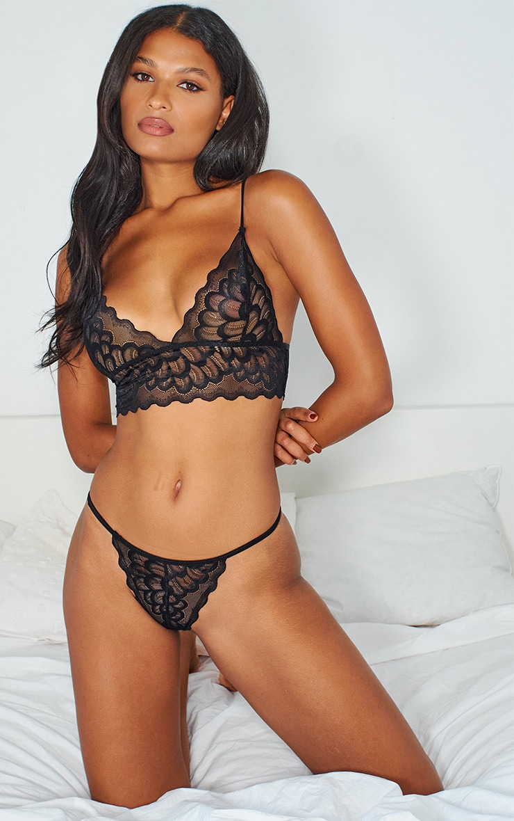 Black Longline Scallop Lace Triangle Lingerie Set 1