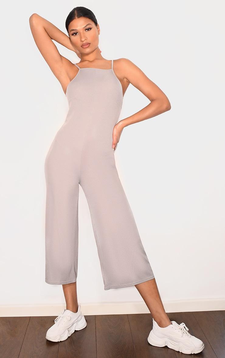 Grey Marl Rib Wide Leg Culotte Jumpsuit 1