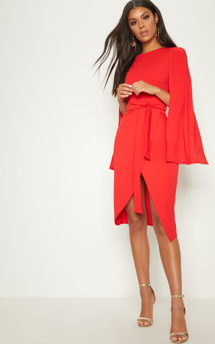 Red Cape Style Wrap Midi Dress 1