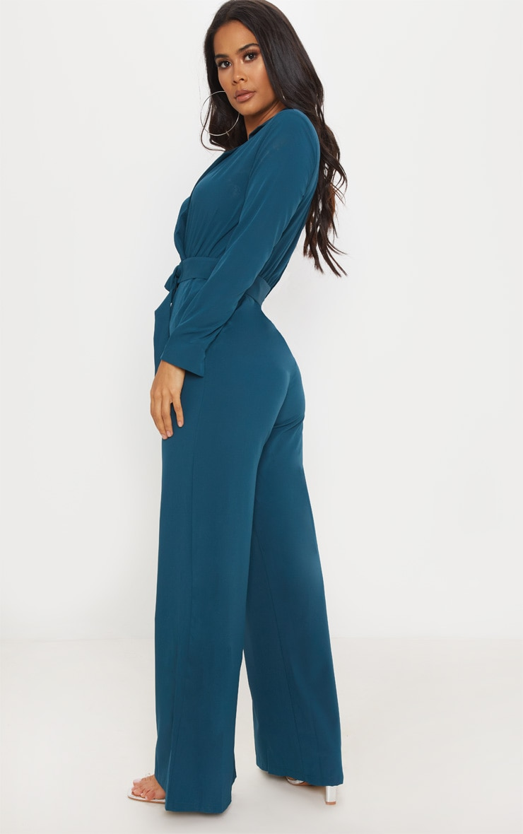 Teal Belt Detail Wide Leg Jumpsuit 2