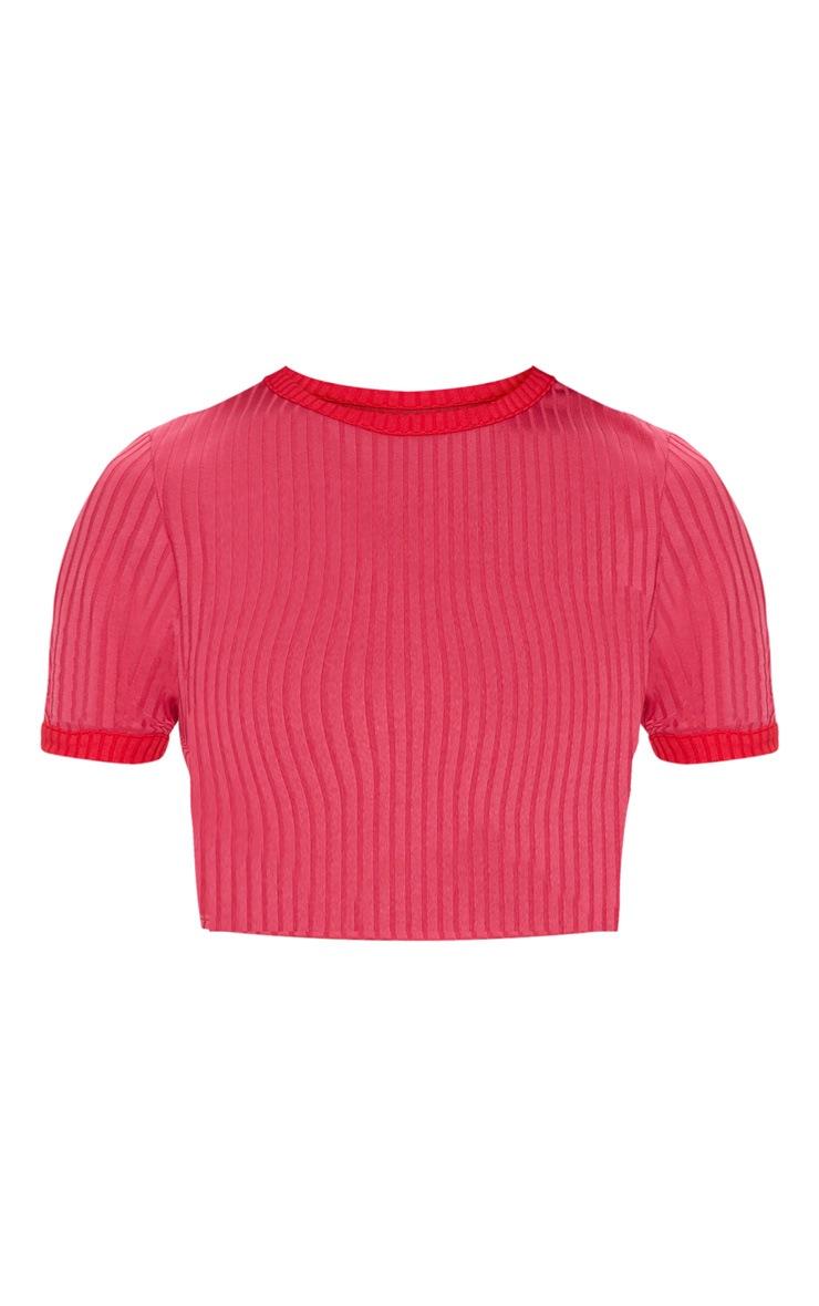 Pink Rib Contrast Detail Crop Top 3