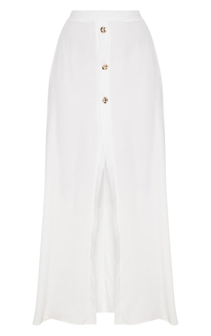 Cream Satin Button Front Maxi Skirt 3