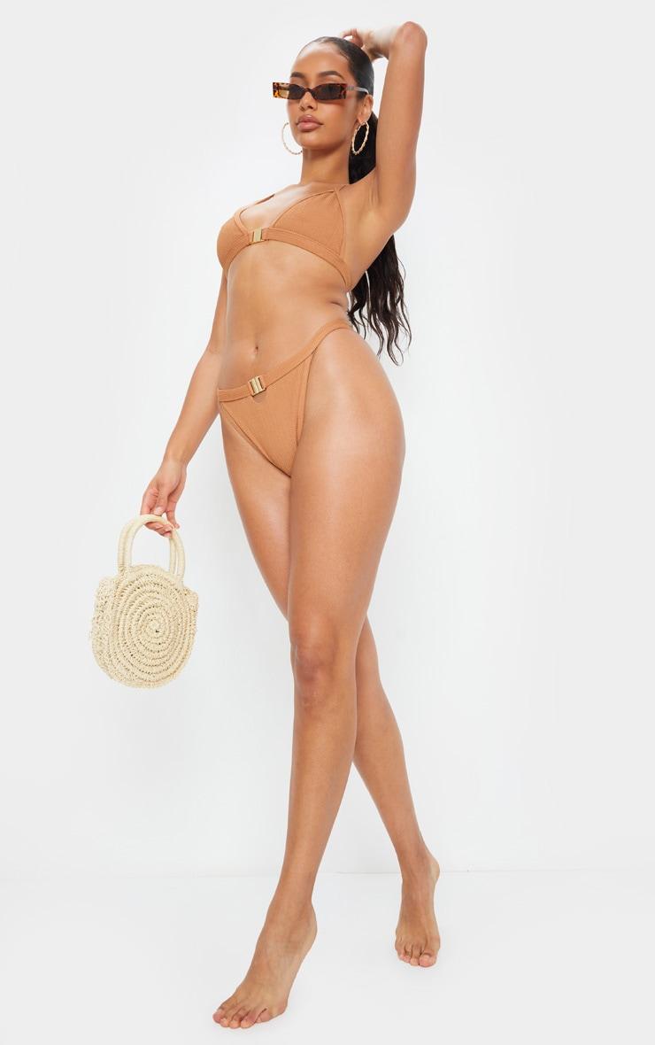 Mocha Crinkle Front Clasp Triangle Bikini Top 3