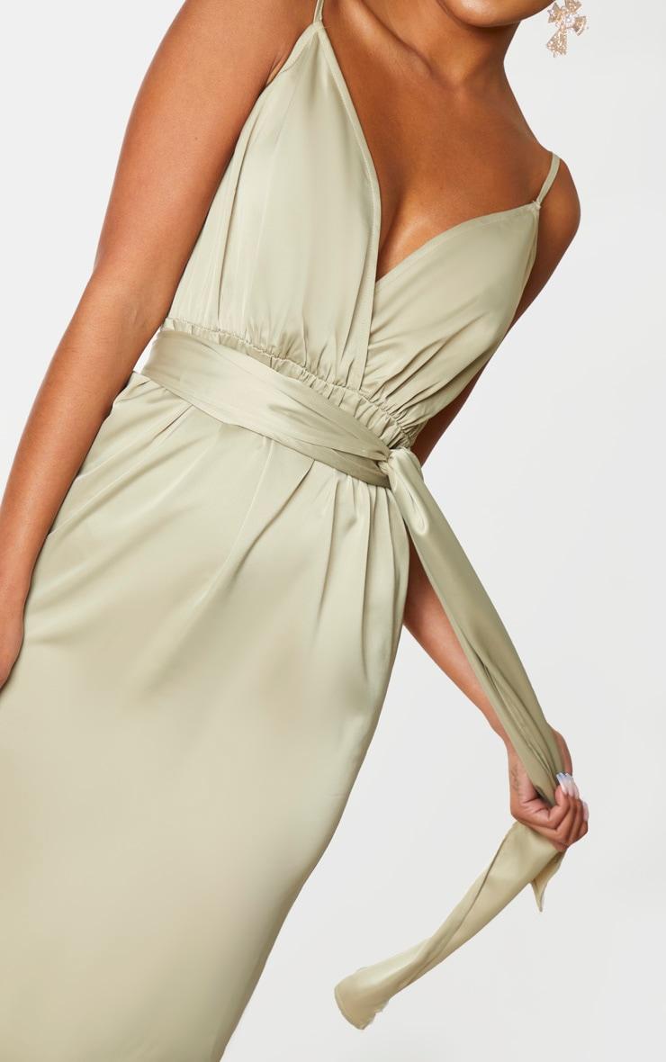 Sage Green Satin Tie Waist Midi Slip Dress 4