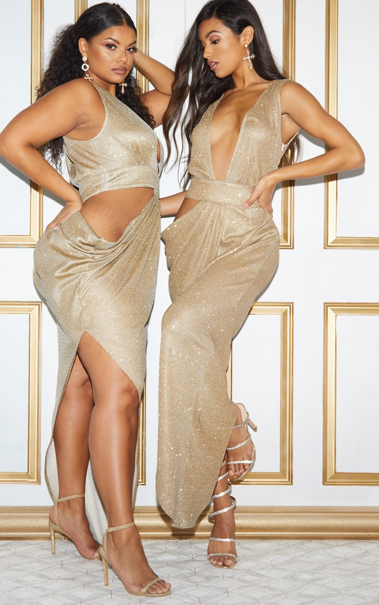 Plus Gold Glitter Asymmetric Cut Out Maxi Dress 2