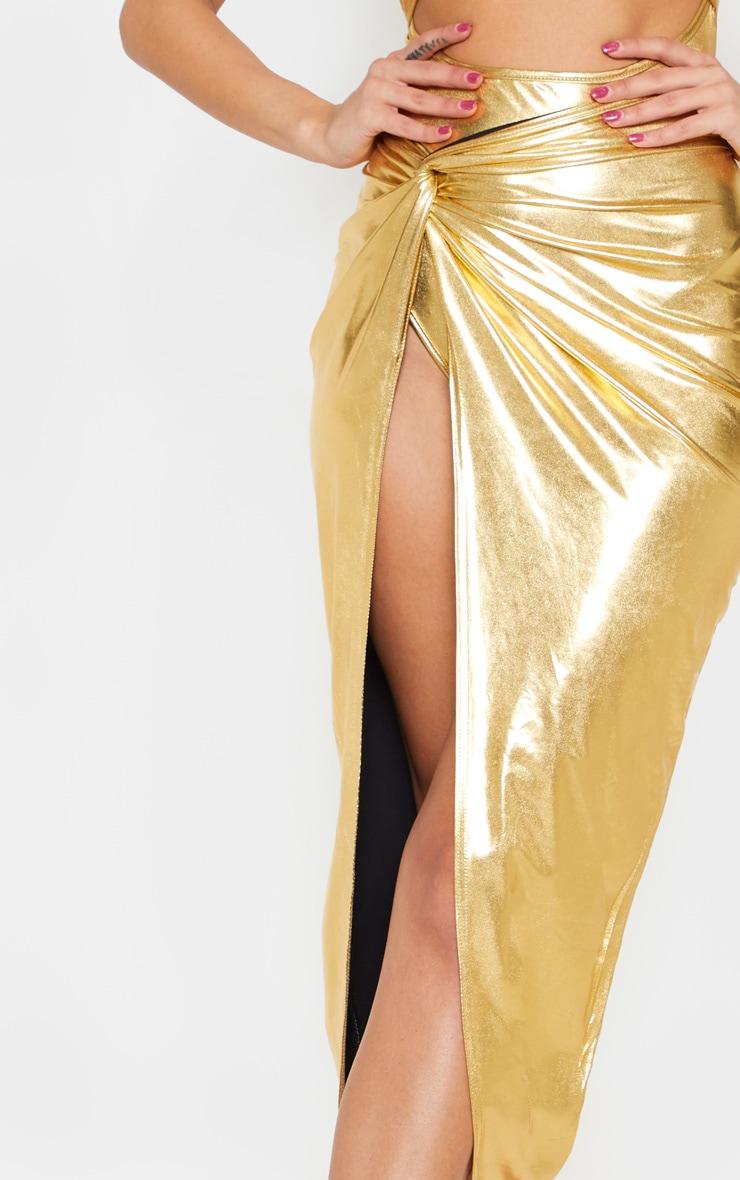 Gold Metallic Slinky Knot Front Midi Skirt 5