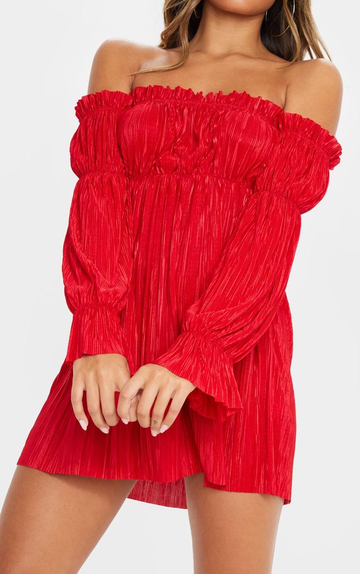 Red Plisse Bardot Shift Dress 5