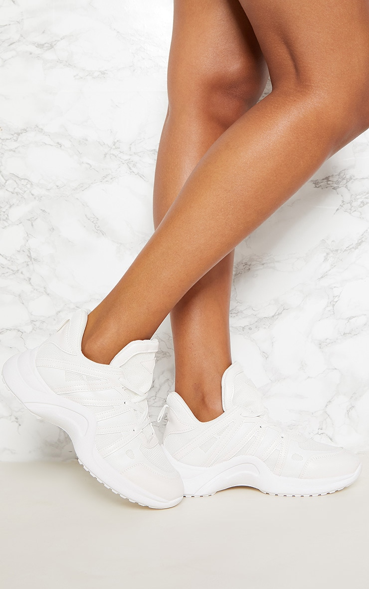 White Arched Sole Chunky Sneakers